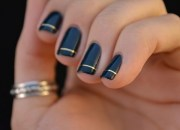 simple black nail art with gold