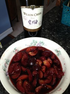 Marinating plum quarters. In the first trial I used Wilson Creek Winery Duet before I switched to port