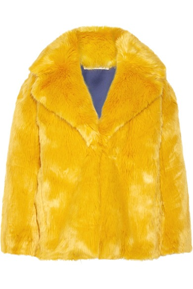 dvf yellow faux fur