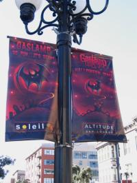 Halloween banners on Gaslamp lamp posts.