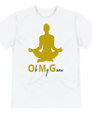 A white short sleeved t shirt lying flat on white background which says oh my guru under a gold silhouette of woman sitting in Sukhasana pose.