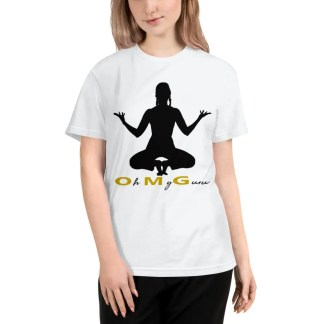 Woman with light brown shoulder length hair wearing black jeans & a white short sleeved t shirt which says oh my guru under a black silhouette of woman squatting on tip-toe