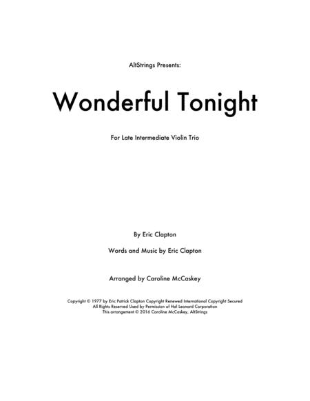 Wonderful Tonight Violin Trio Sheet Music PDF Download