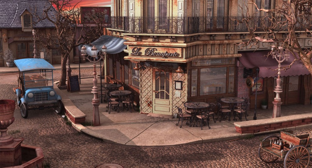 Autumn Old Car Wallpaper Wallpaper Art French Bistro At Sunset Concept Art