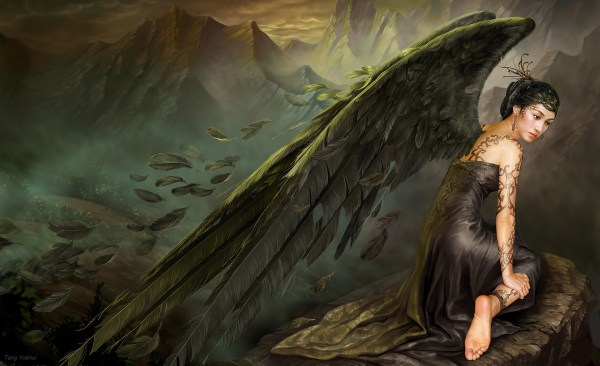 Wallpaper Dark Angel - Concept Art Digital Paintings