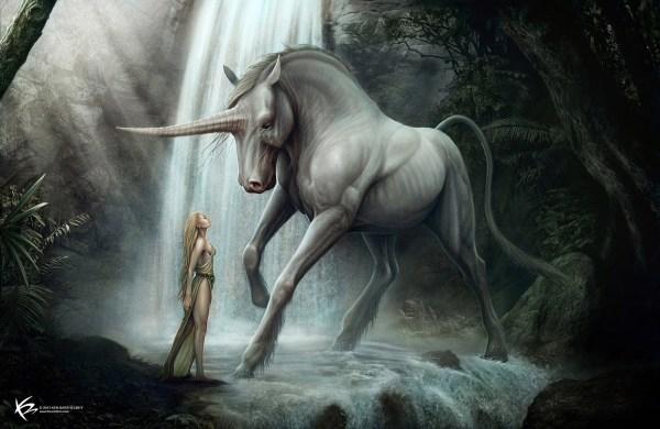Fantasy Beauty Meets Unicorn - 2d Digital Concept