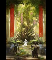 throne fantasy concept artwork queen illustration room 2d kotaki kekai illustrations tree coolvibe elf digital dark elves moon heavy thread
