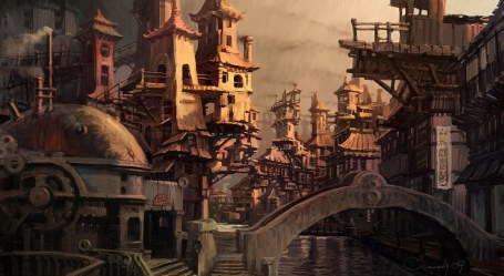 concept outskirts digital 2d sergey skachkov steampunk fantasy painting architecture steam landscape cityscape coolvibe punk please general russia