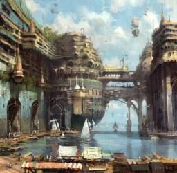 concept potato digital khang le 2d futuristic paintings fantasy town technology sci fi ancient painting medieval conceptual port castle artwork