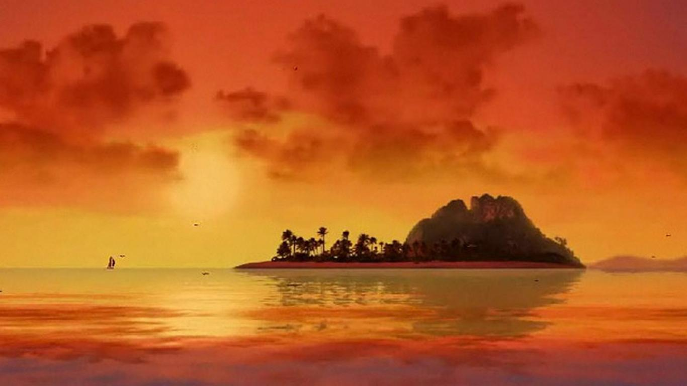 Hd Quality Wallpaper Download Sailboat Ocean Sunset Trees Landscape Nature Hd City 61124