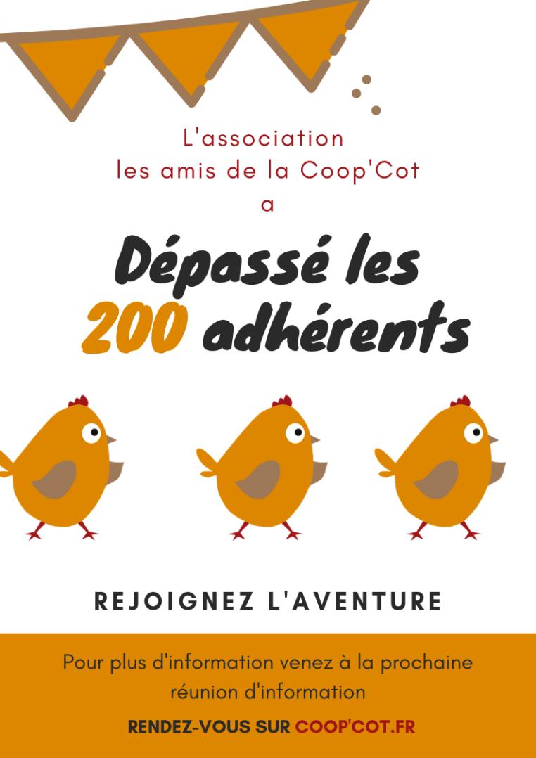 200 adhérents