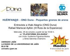 Entrevista en el programa Plataforma Solidaria de Radio Jaén