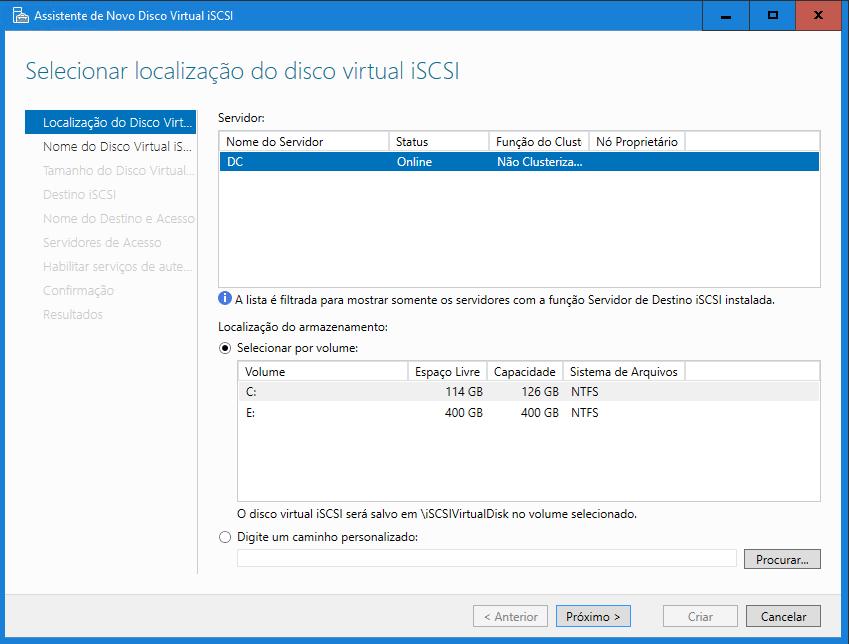 Janela de criação de conexão iSCSI no Windows Server 2016