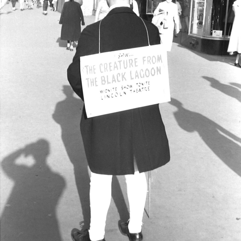"""Lincoln Theatre, Lincoln, NE, Summer 1954. Downtown Lincoln, Usher promotion for """"The Creature from the Black Lagoon."""""""