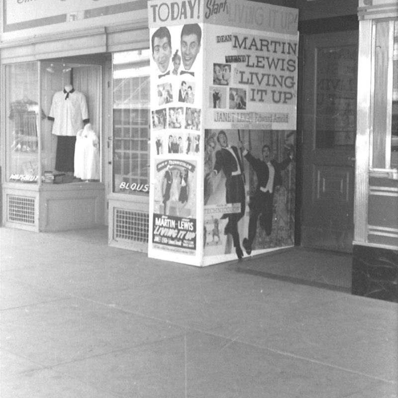 "Lincoln Theatre, Lincoln, NE, Fall 1954. Theatre ""False Front"" promoting ""Living it Up."""