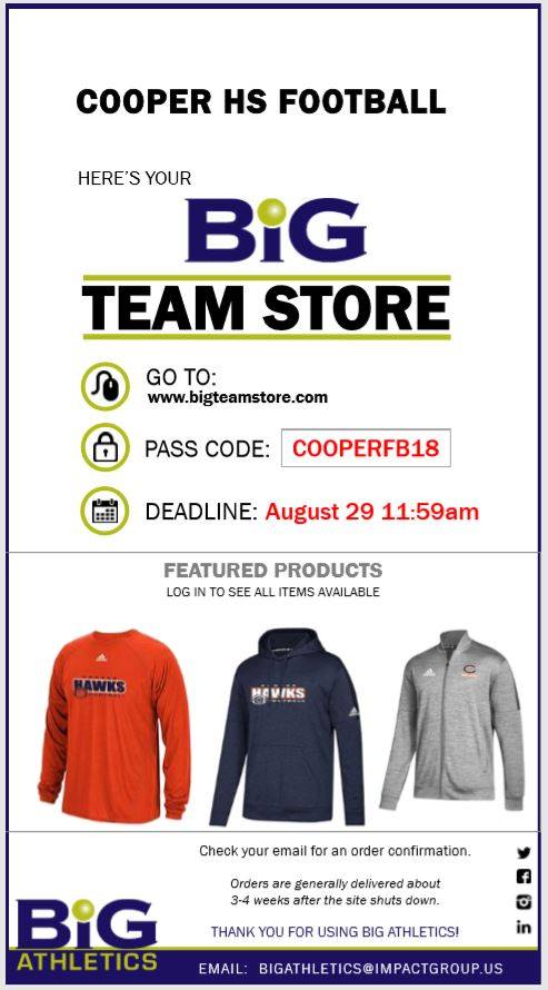 Cooper Football Team Store Now Open!