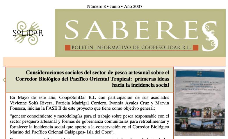 Boletín SABERES No 8 Año 2007