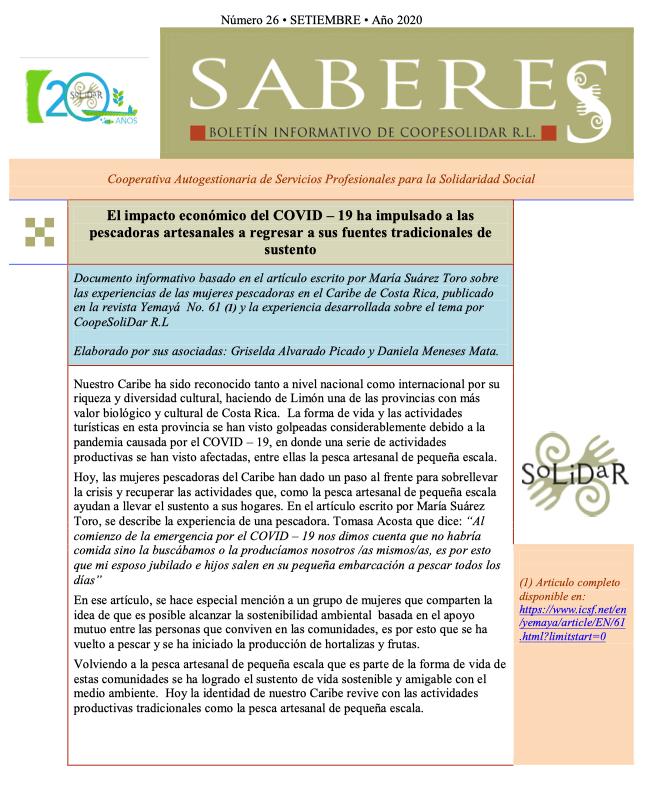 Boletín SABERES No 26 Año 2020