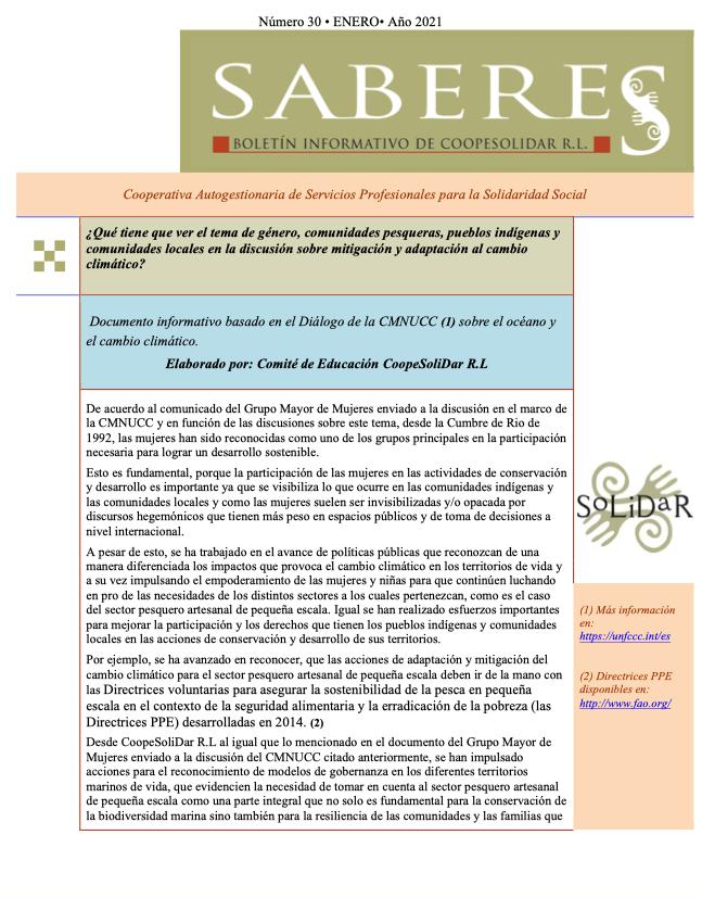 Boletín SABERES No 30 Año 2021