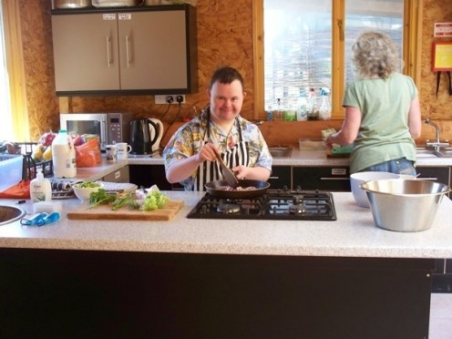 Grow it, Cook it, Eat it! Dale makes a tasty, healthy treat using hand harvested crops in the Log Cabin Country Kitchen at 'Growing for Life', Preston, Torbay.