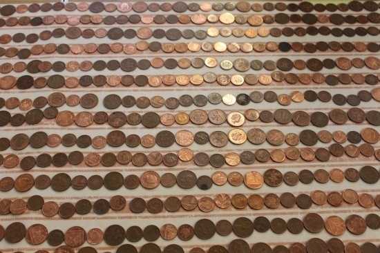 Rows and rows of coins