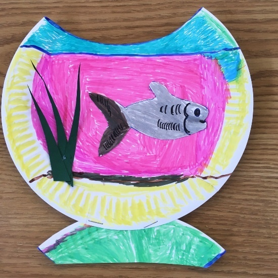 a colourful goldfish bowl design on a paper plate