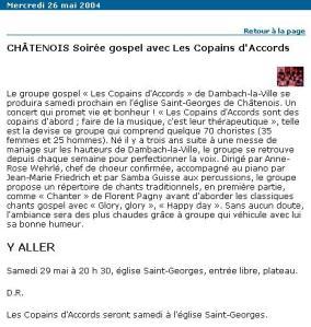 L'Alsace du 26 mai 2004
