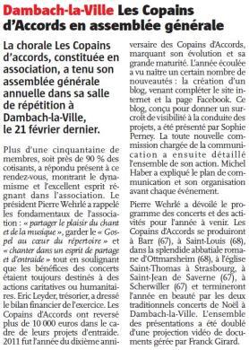L'Alsace du 2 mars 2012