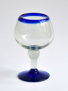 Bola glass cobalt blue rim