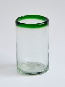 Juice glass green rim