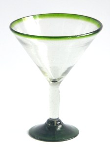 Martini glass green rim