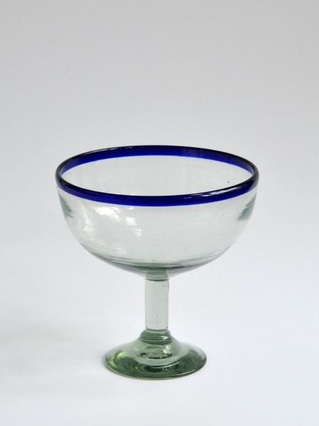 Half Orange Margarita Glass - Blue rim Image