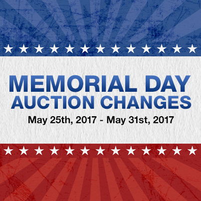 Memorial Day Auction Changes