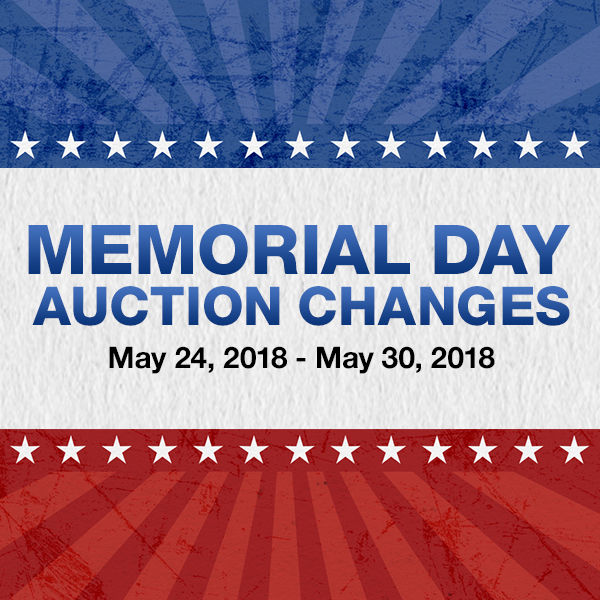 Memorial Day Auction Changes 2018