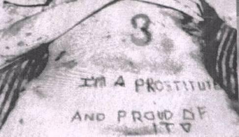Tatuaje en el torso de Sylvia Likens realizado por Gertrude Baniszweski y Richard Hobbs