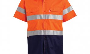 2 TONE REFLECTIVE SS WORK SHIRT - ORANGE  NAVY
