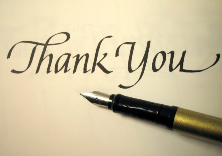 thank you in calligraphy