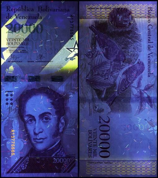 Bolivar Fuerte 20.000 Schwarzlicht