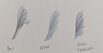 Illustrations of attempts to mitigate the blurring of pencil lines by Copic ink.