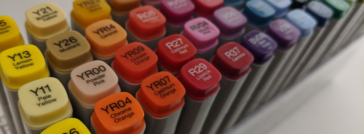 Copic Markers organised by colour family