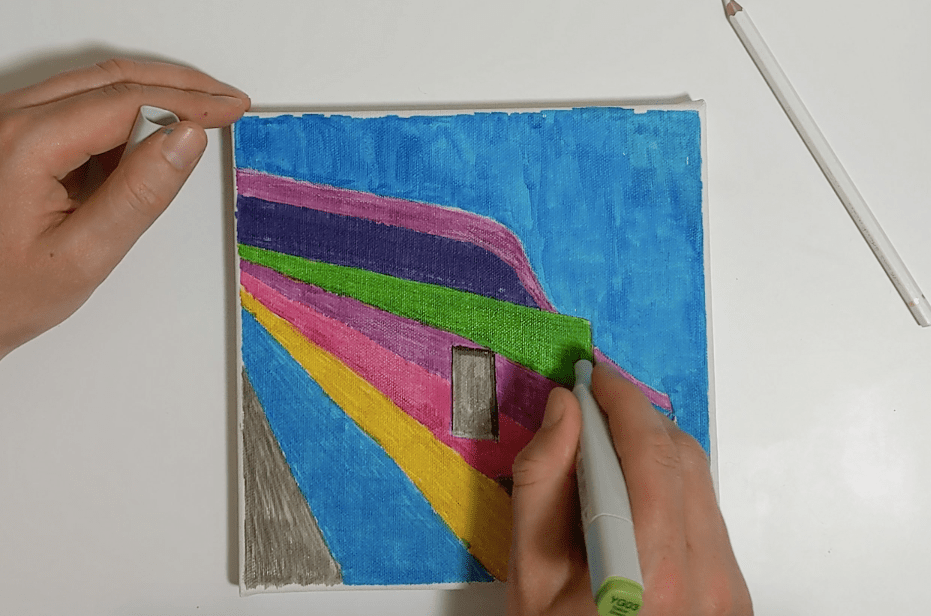 Showing how reworking copic colours on canvas results in a smoother and more textured finish.