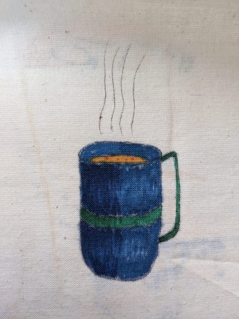 finished cup using copic markers on fabric (cotton)