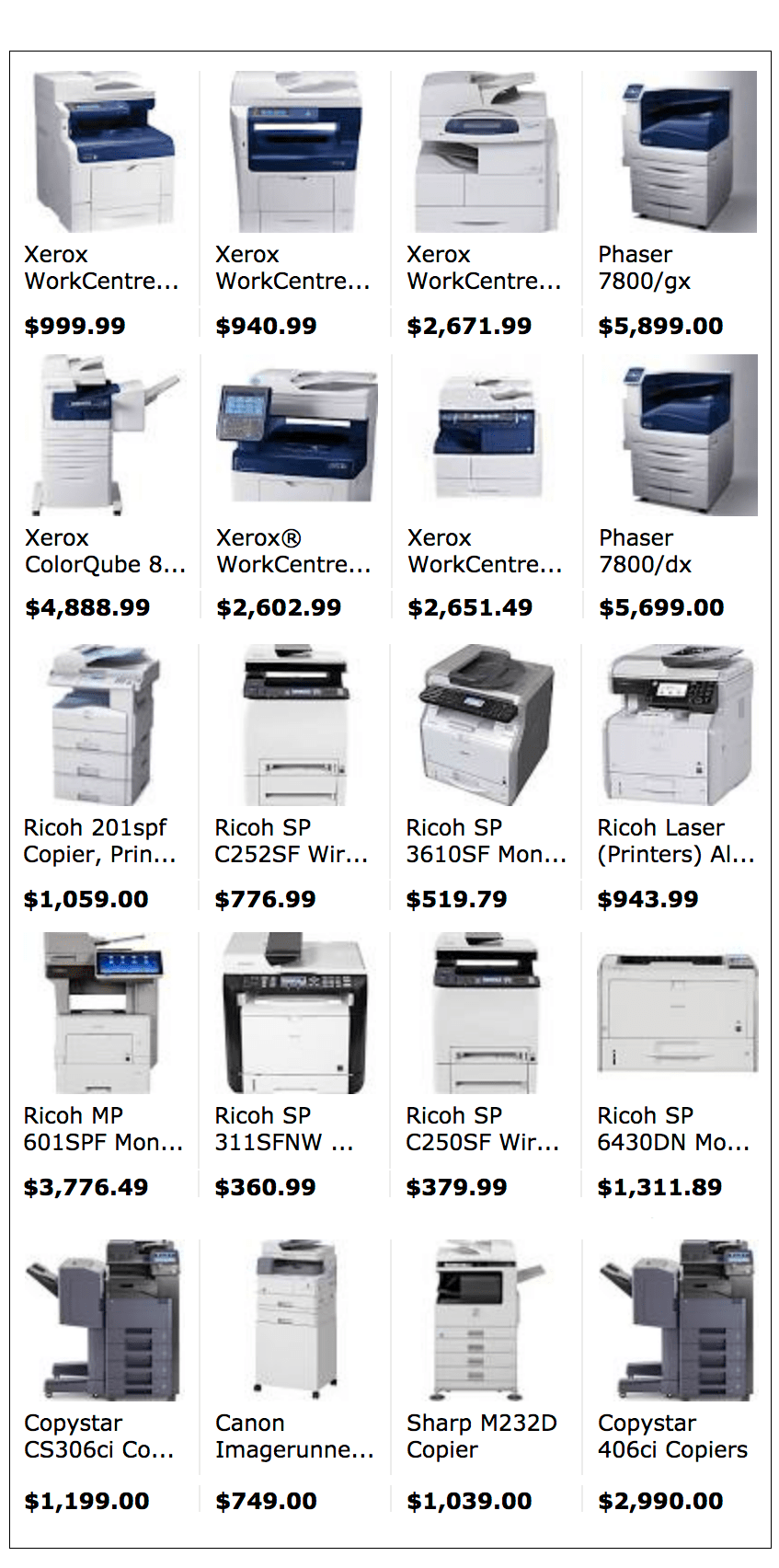 compare copier prices