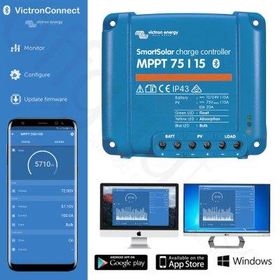 Victron SmartSolar MPPT 75 / 15 Solarladeregler mit App zur Steuerung und Überwachung