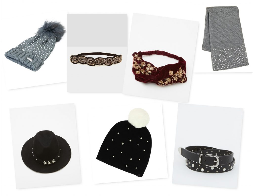 Bonnets et accessoires à perles