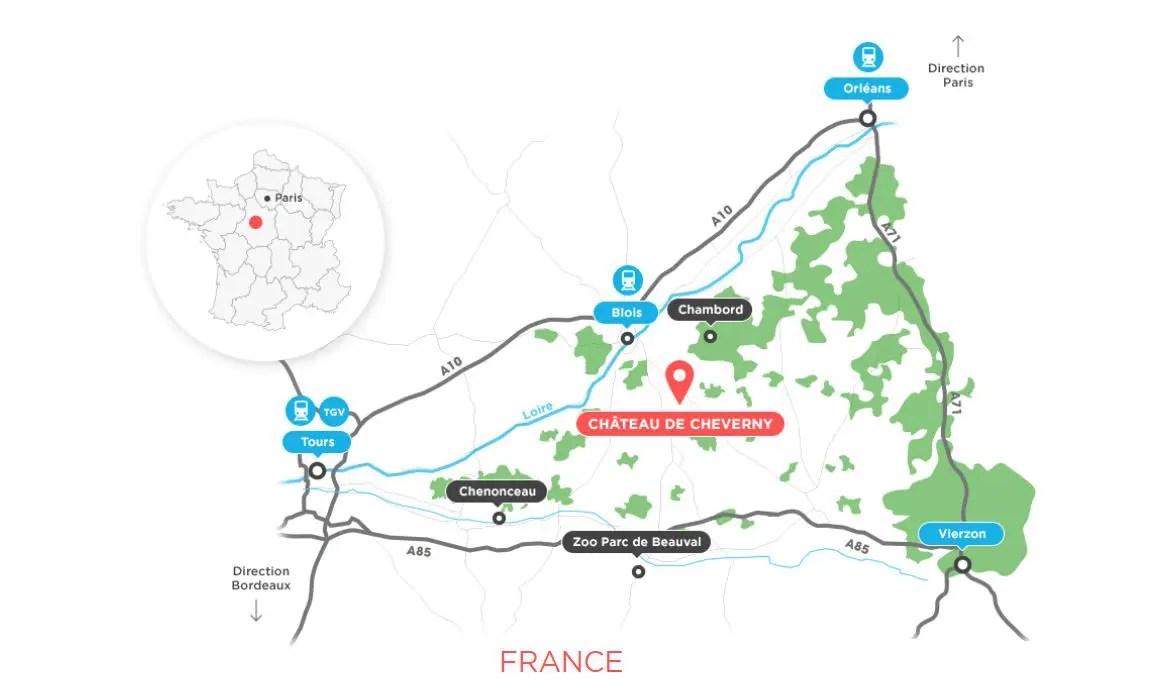 Plan accès chateau de cheverny