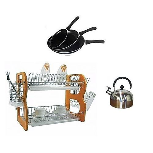 Plate/dish Rack, Frying Pan And Kettle Bundle