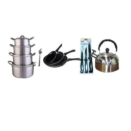 Pot + Frying Pan + Kettle +table Spoon And Knife Set Bundle