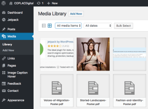 Partial screencapture of the COPLACDigital site's WordPress media library.