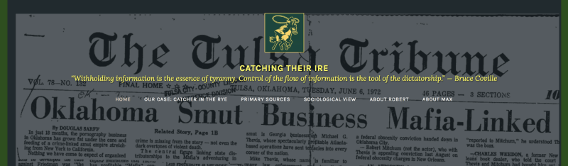 Screenshot of the homepage of the Catching Their Ire website